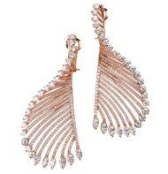 Kolczyki z różowego złota w formie skrzydeł z diamentami