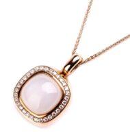 Zawieszka w różowym złocie z kamieniem księżycowym