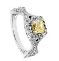 Pierścionek z białego złota z diamentem Fancy Yellow