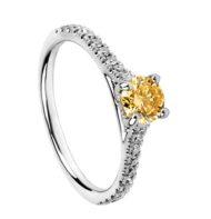 Pierścionek z białego złota z brylantem Fancy Yellow