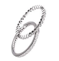 Zestaw dwóch pierścionków typu ring z białego złota z brylantami