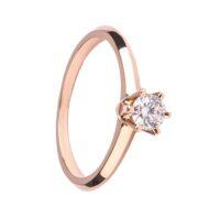 Pierścionek z różowego złota z brylantem