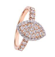 Pierścionek z różowego złota w kształcie markizy wysadzany brylantami