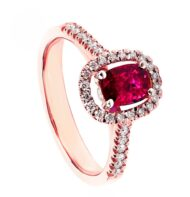 Pierścionek z różowego złota z rubinem