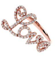 Pierścionek z różowego złota z napisem LOVE