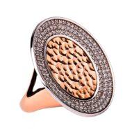 Pierścionek z różowego złota z potrójnym rzędem brylantów