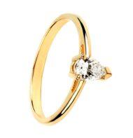 Pierścionek ze złota z diamentem w szlifie łezki