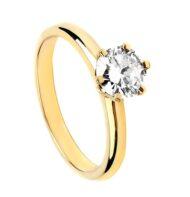 Pierścionek ze złota z brylantem w klasycznej koronie