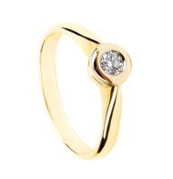 Złoty pierścionek z brylantem zakutym na gładko