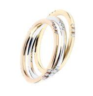 Zestaw pierścionków w trzech kolorach złota z brylantami